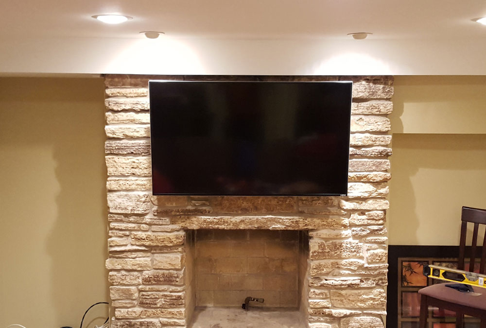 Stone Fireplace TV Mounting